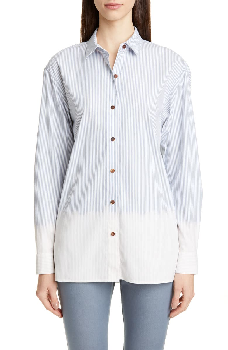 LAFAYETTE 148 NEW YORK Everson Stripe Shirt, Main, color, SEAPORT MULTI