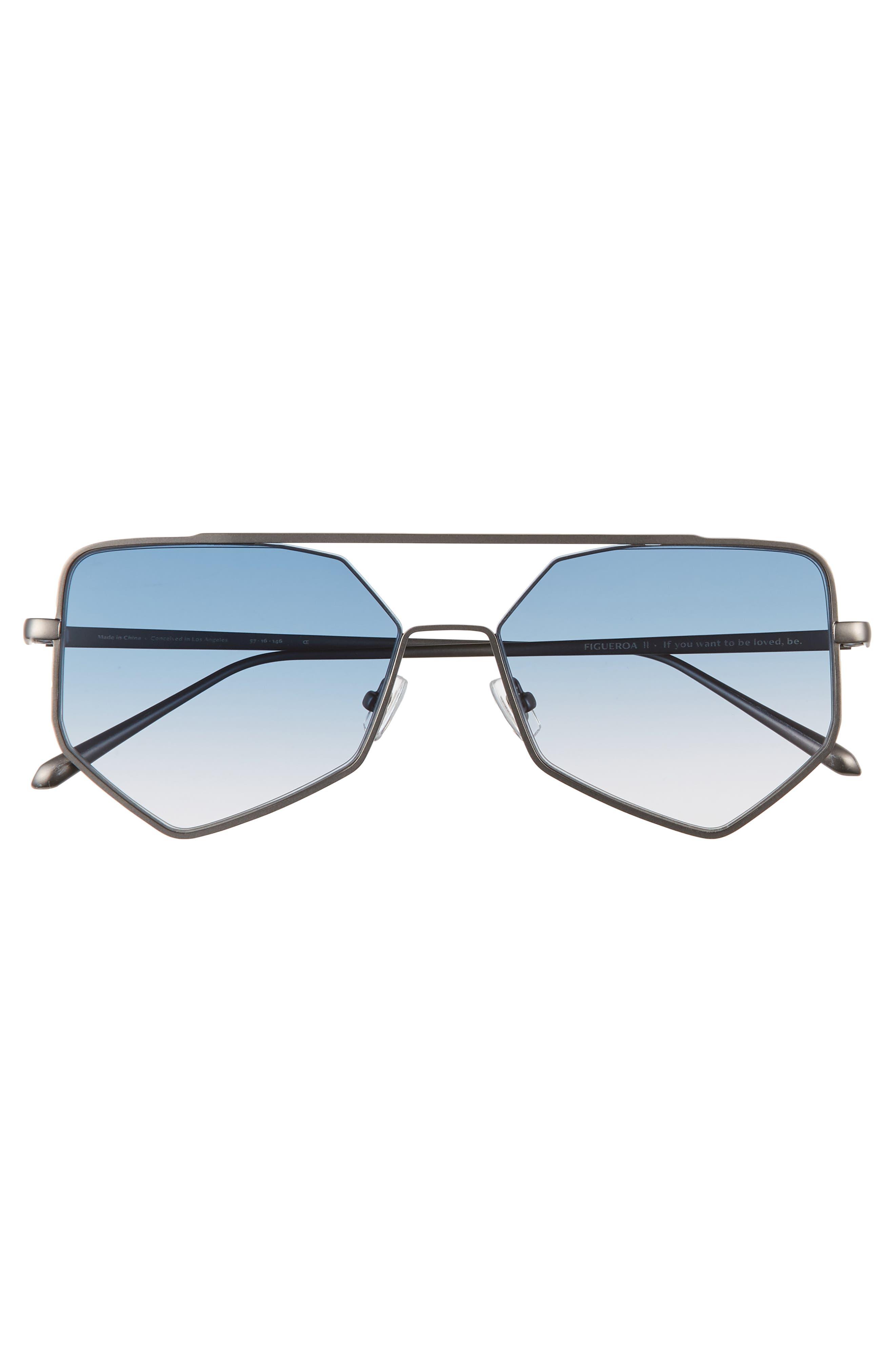 ,                             Figueroa II 57mm Aviator Sunglasses,                             Alternate thumbnail 3, color,                             BLUE GRADIENT
