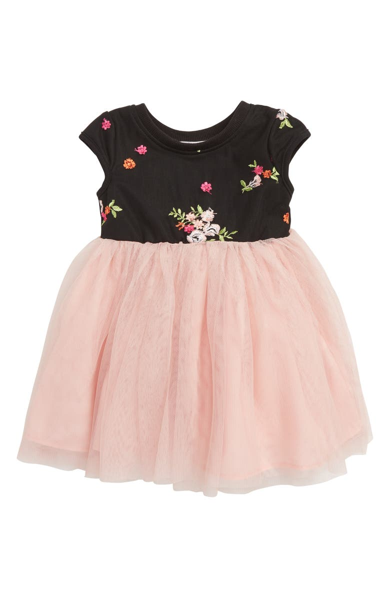 POPATU Floral Embroidery Tulle Dress, Main, color, DUSTY PINK/ BLACK