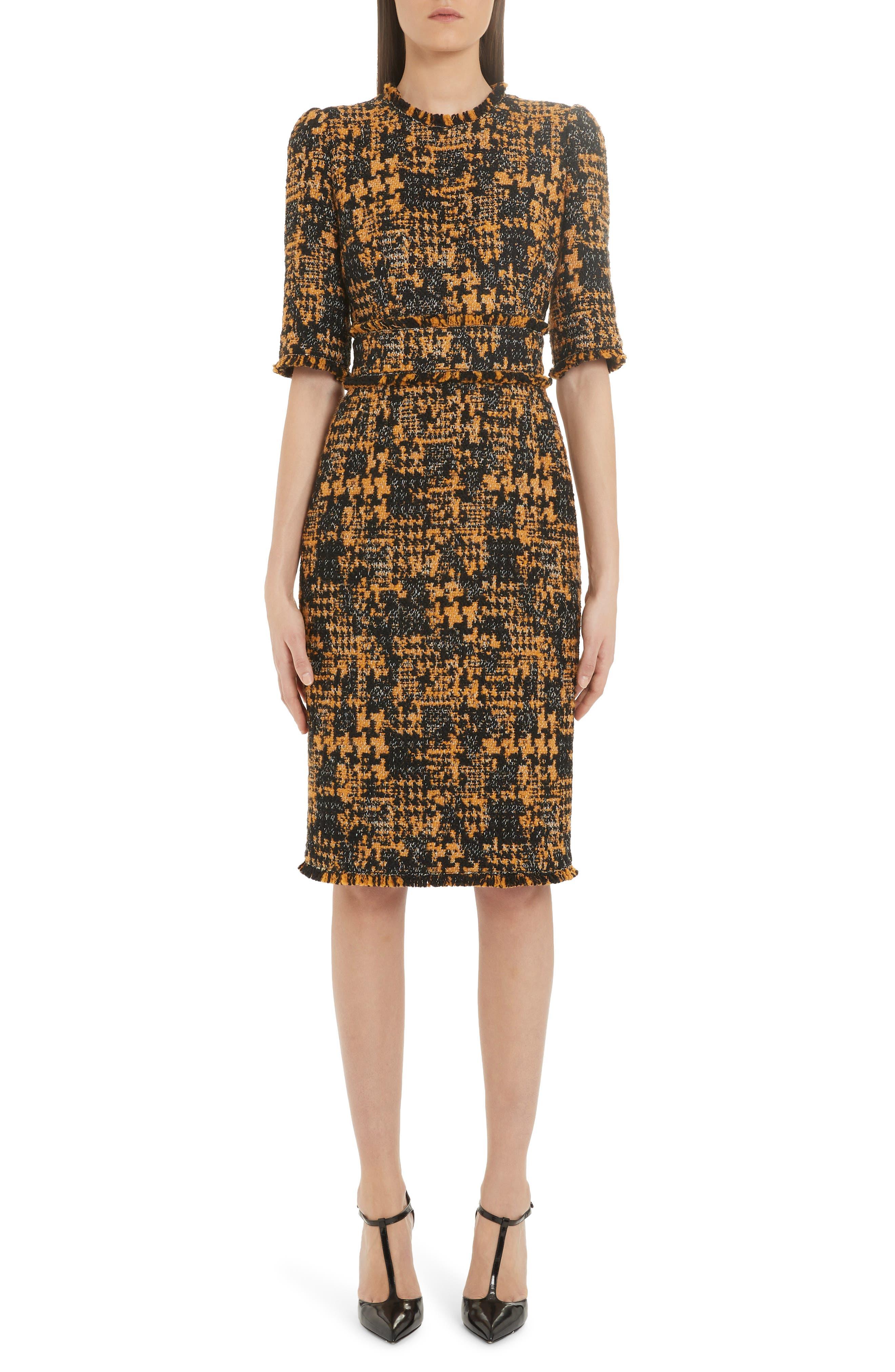 Dolce & gabbana Tweed Sheath Dress, US / 40 IT - Brown