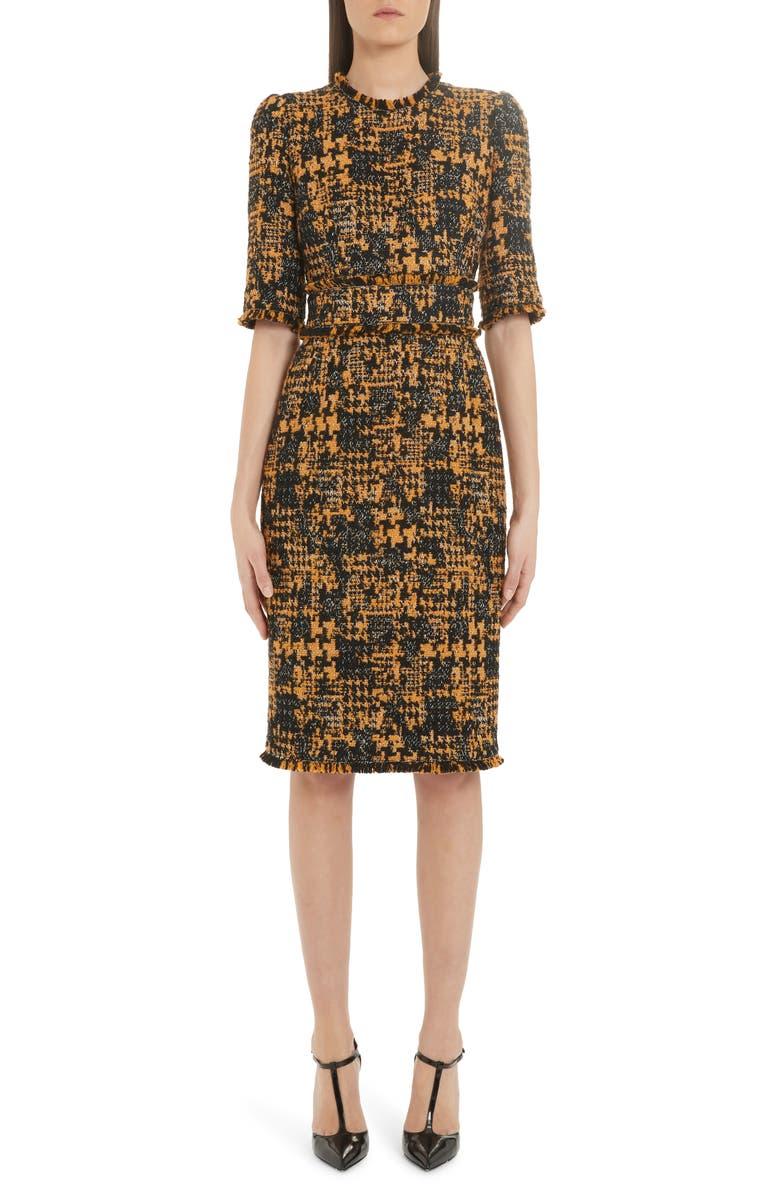 DOLCE&GABBANA Tweed Sheath Dress, Main, color, TWEED