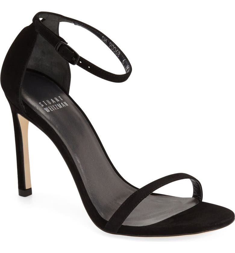 STUART WEITZMAN Nudistsong Ankle Strap Sandal, Main, color, BLACK SUEDE