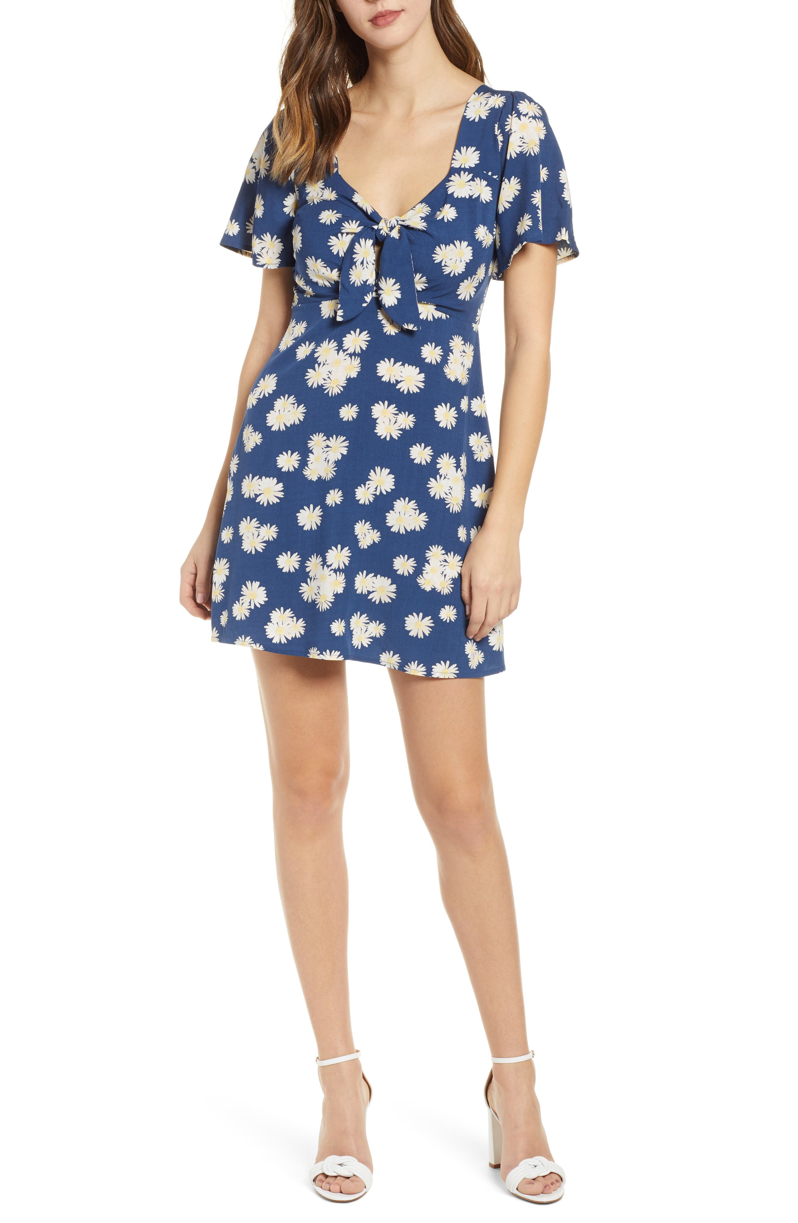 All In Favor Tie Front Minidress, Blue
