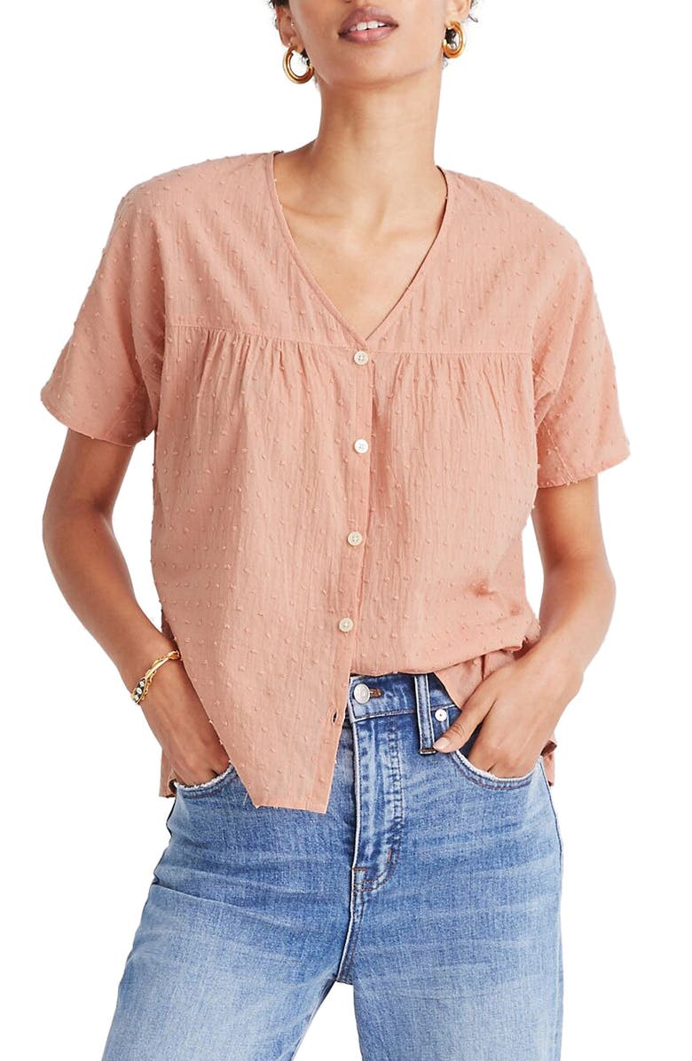 MADEWELL Rhyme Button Front Clip Dot Top, Main, color, 950