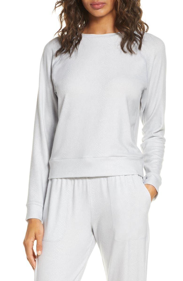 BEYOND YOGA Hacci Raglan Pullover, Main, color, STONE GRAY SNAKE