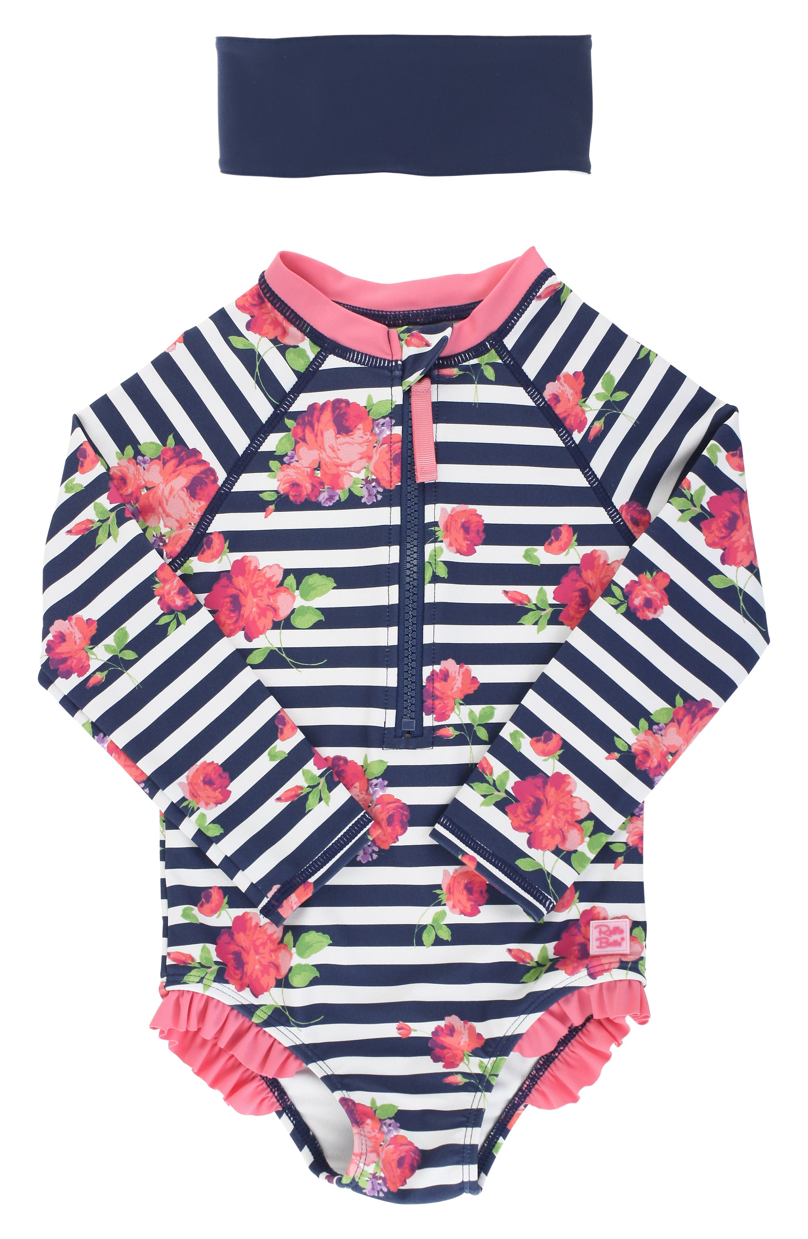 Bright flowers and crisp stripes make this long-sleeve rashguard a beach-ready fave, while the matching headband provides a perfect finishing touch. Style Name: Rufflebutts Rosy Stripe One-Piece Rashguard Swimsuit. Style Number: 6000251. Available in stores.