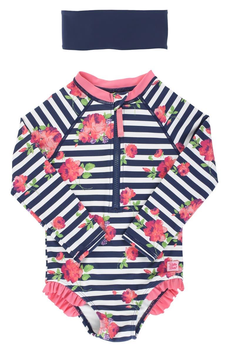 RUFFLEBUTTS Rosy Stripe One-Piece Rashguard Swimsuit, Main, color, BLUE
