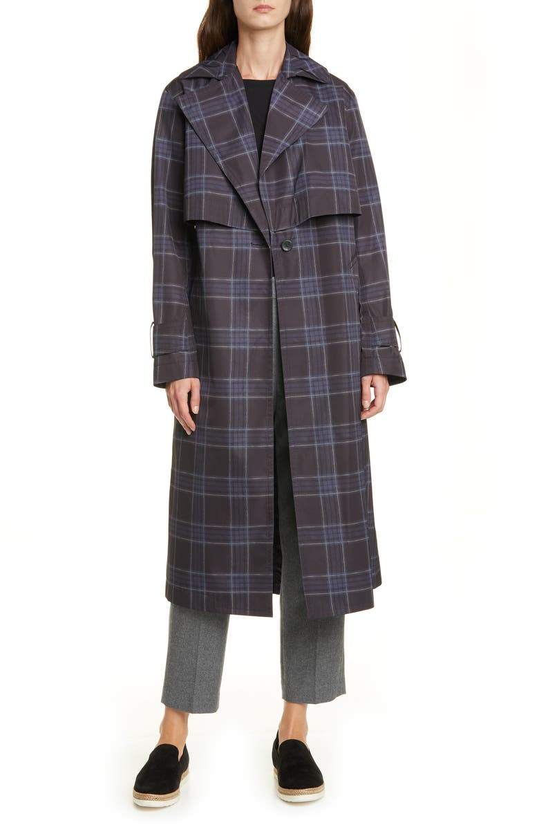 VINCE Plaid Trench Coat, Main, color, MARINE