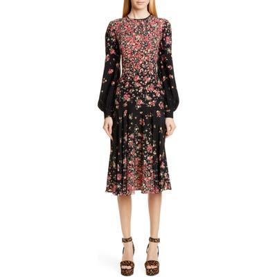 Michael Kors Degrade Floral Long Sleeve Crepe De Chine Dress, Black