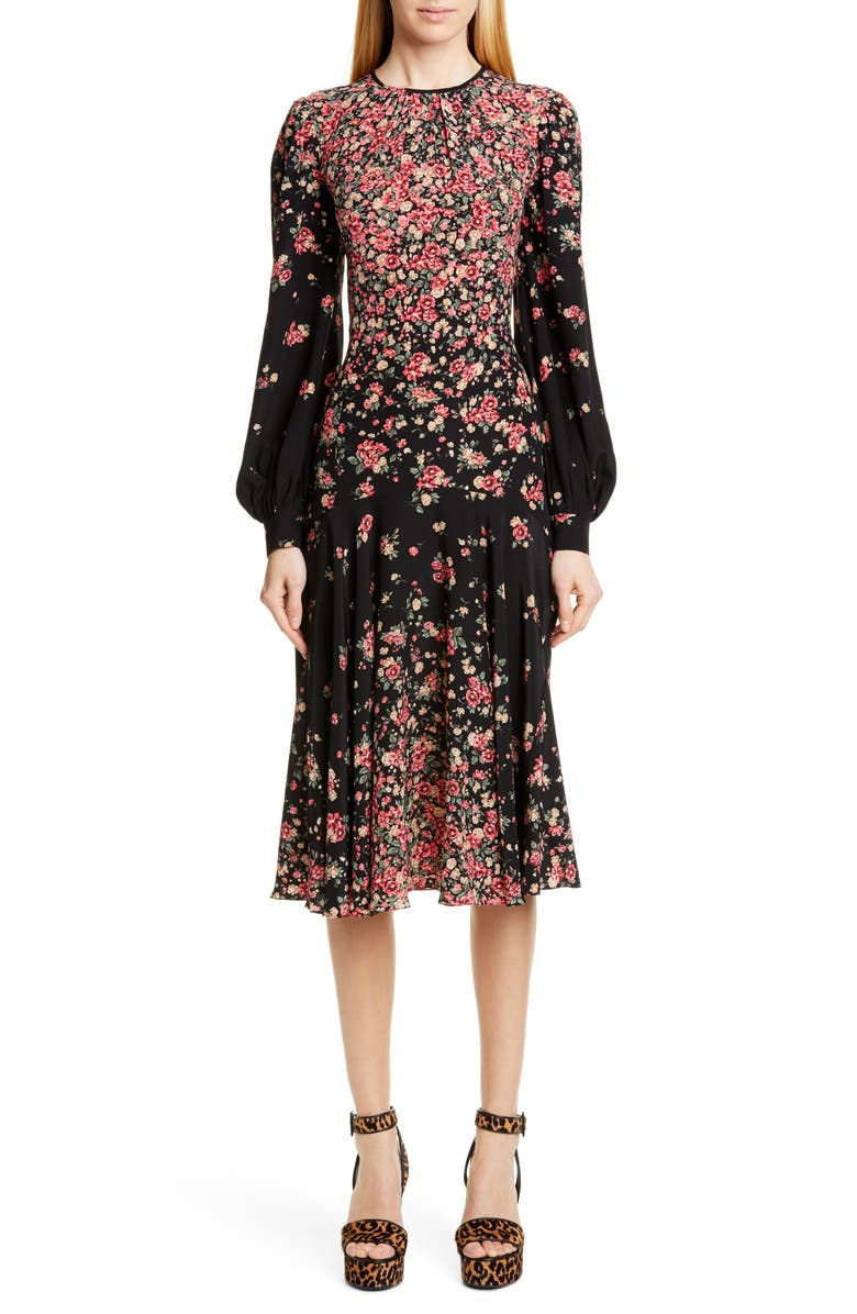 MICHAEL KORS COLLECTION Michael Kors Dégradé Floral Long Sleeve Crêpe de Chine Dress, Main, color, BLACK/ ROSEWOOD