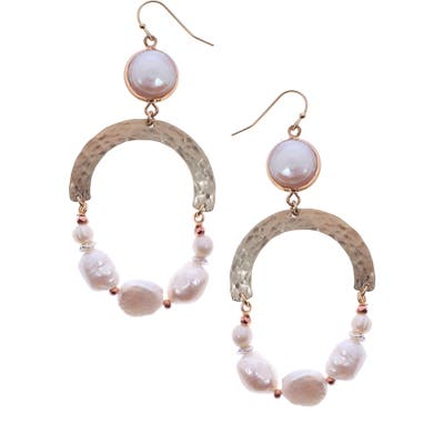 Nakamol Design Freshwater Pearl Hoop Earrings