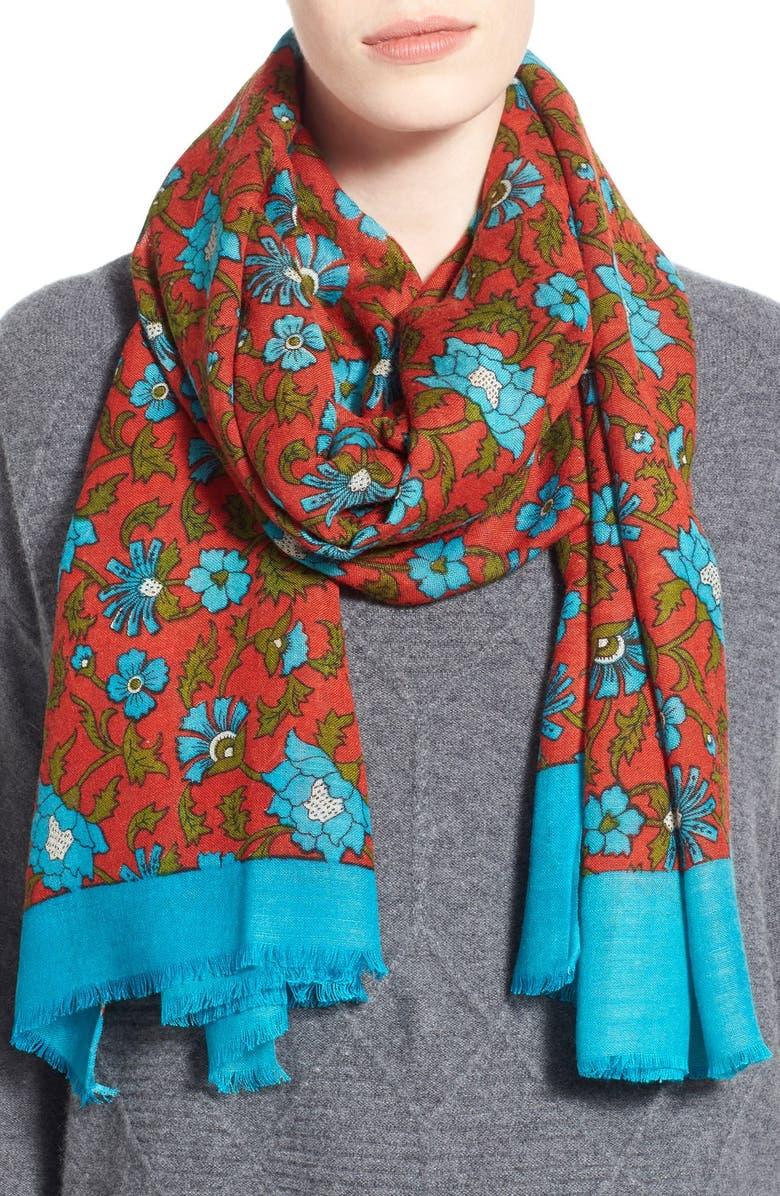 LA FIORENTINA Floral Print Scarf, Main, color, 440