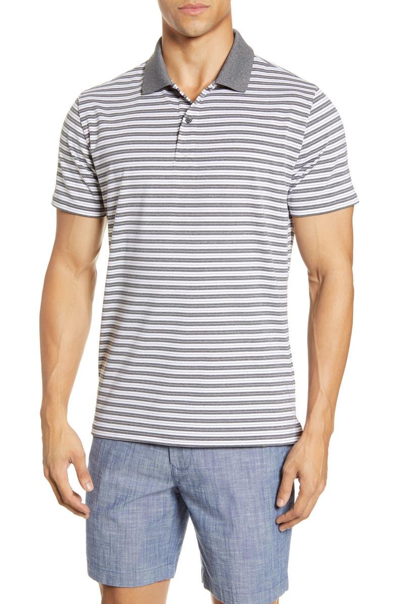 BONOBOS Slim Fit Stripe Performance Polo, Main, color, GREY HAYDEN STRIPE