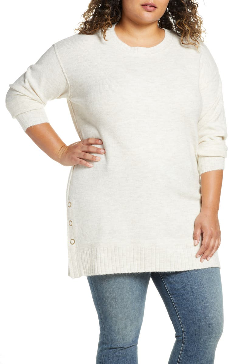 CASLON<SUP>®</SUP> Side Snap Tunic Sweater, Main, color, BEIGE OATMEAL LIGHT HEATHER