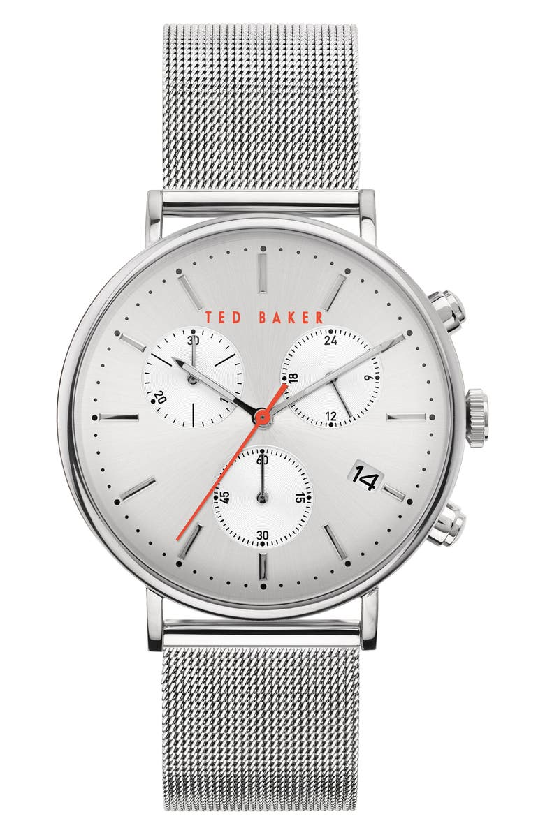 TED BAKER LONDON Mimosaa Chronograph Mesh Strap Watch, 41mm, Main, color, SILVER