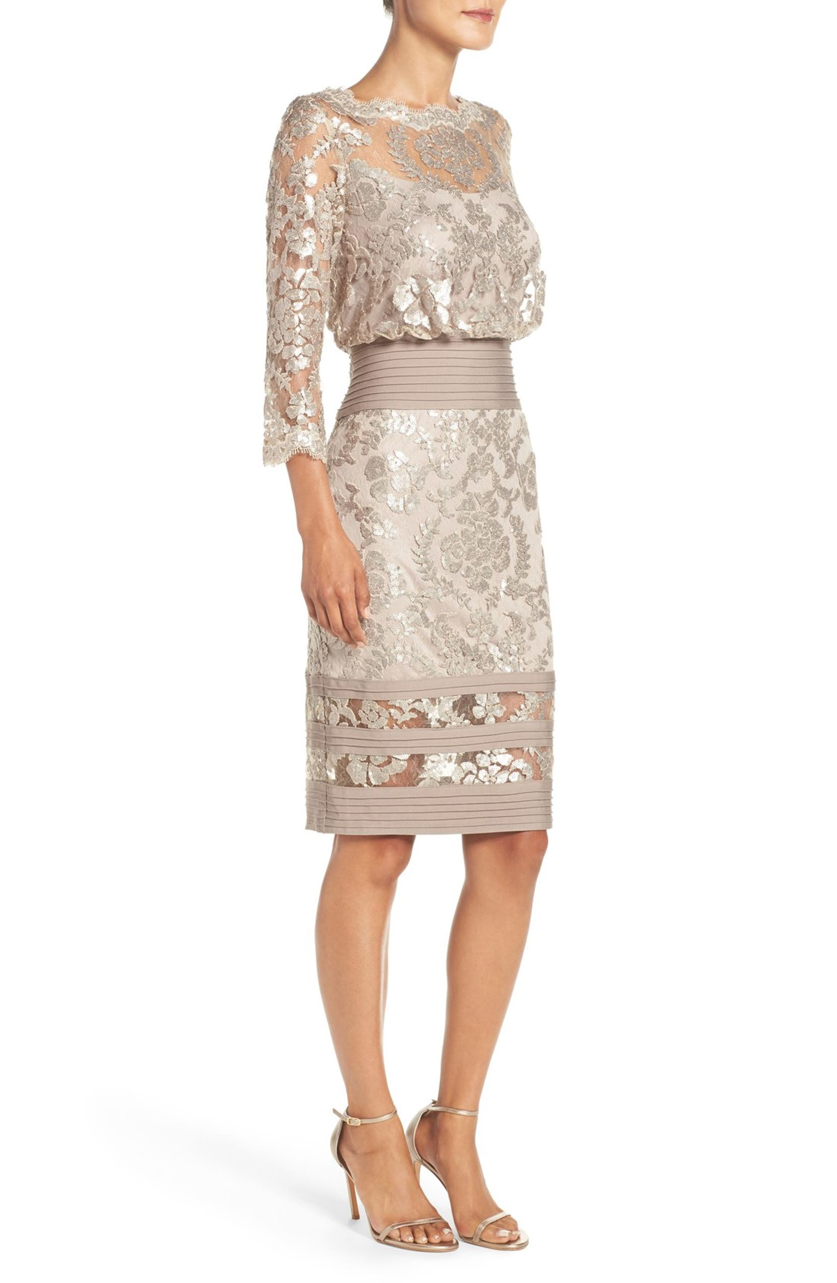 Sequin Lace Blouson Dress