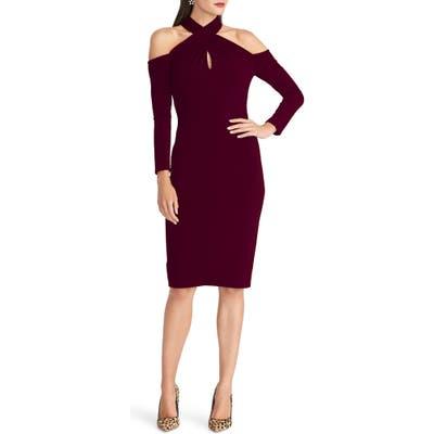 Rachel Rachel Roy Simone Long Sleeve Twist Neck Cold Shoulder Jersey Dress, Burgundy