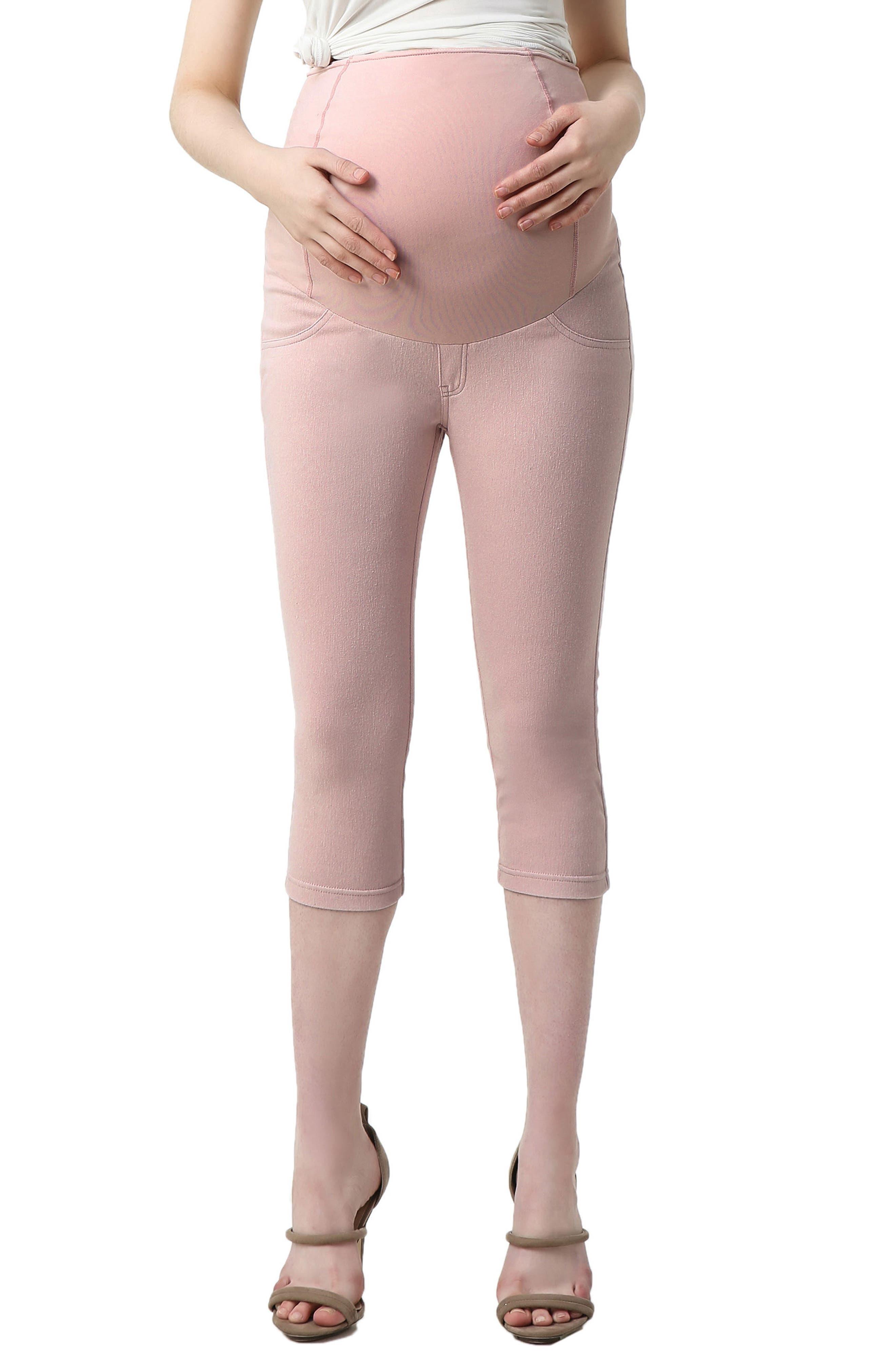 Kimi And Kai Melody Capri Denim Maternity Leggings, Pink