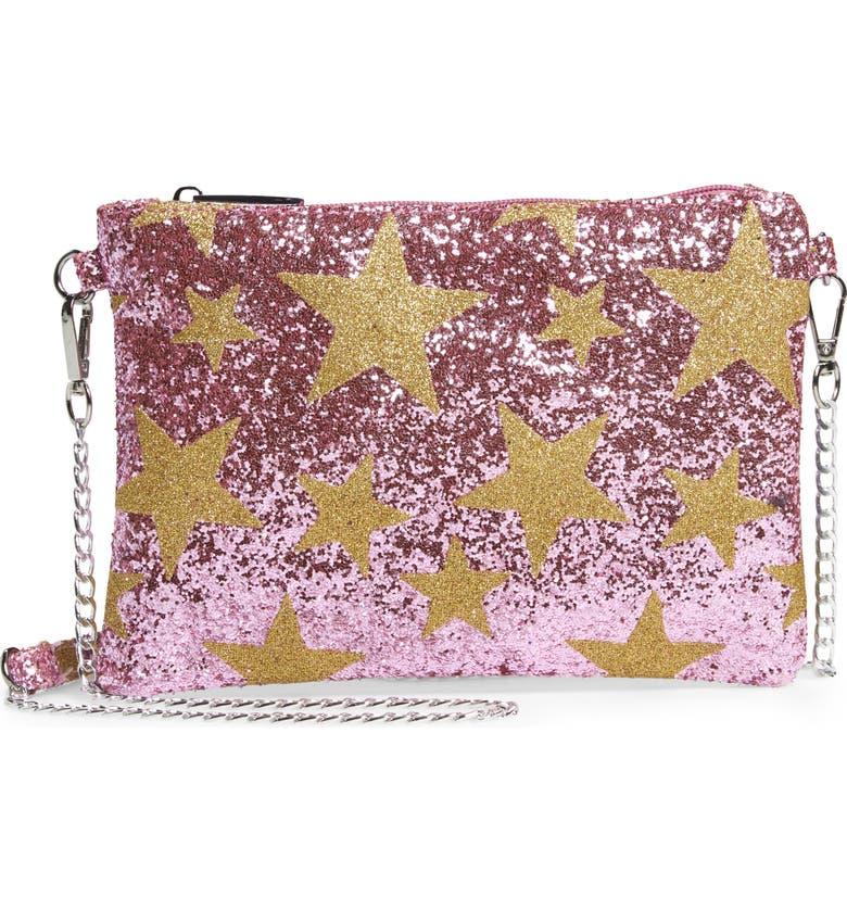 BARI LYNN Glitter Star Shoulder Bag, Main, color, PINK/ GOLD