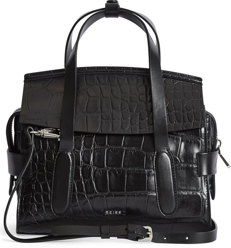 REISS Sophie Croc Embossed Leather Crossbody Bag, Main, color, BLACK CROC