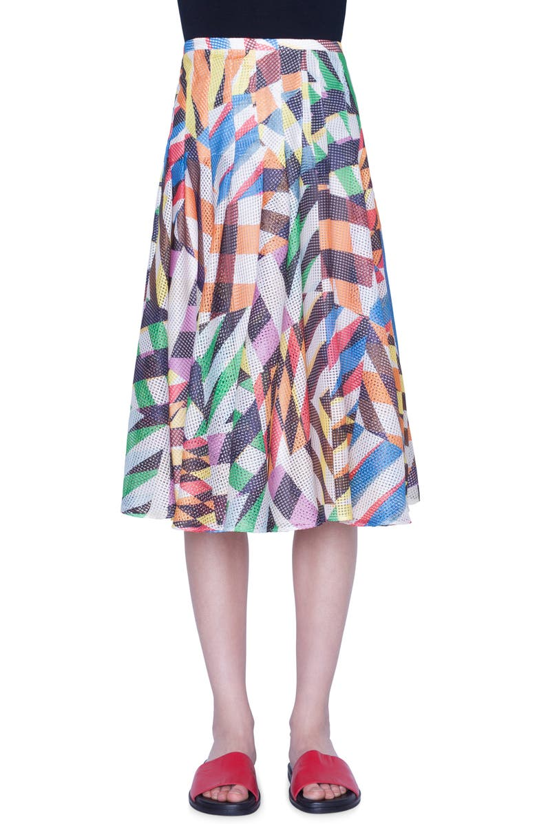 AKRIS PUNTO Patchwork Print Mesh Midi Skirt, Main, color, PATCHWORK MULTI