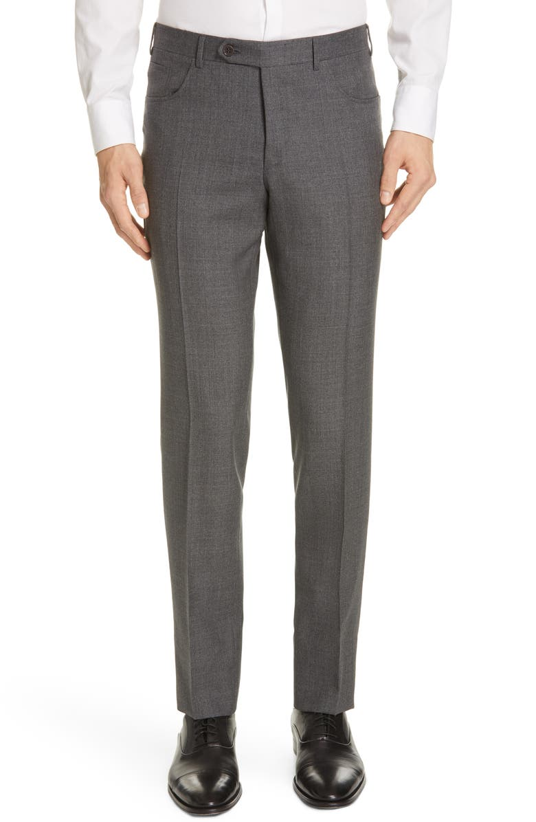 CANALI Five Pocket Slim Fit Wool Travel Trousers, Main, color, 020