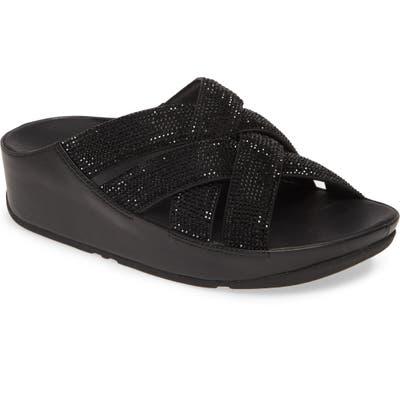 Fitflop Crystal Lattice Strap Slide Sandal, Black