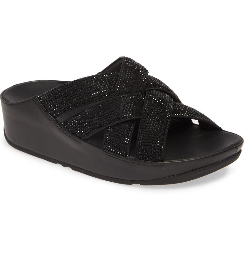 FITFLOP Crystal Lattice Strap Slide Sandal, Main, color, ALL BLACK FABRIC
