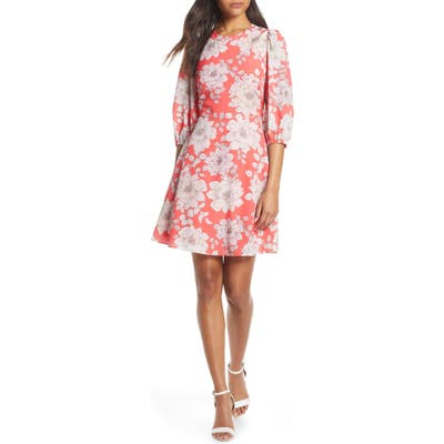 Eliza J Balloon Sleeve Fit & Flare Dress, Coral