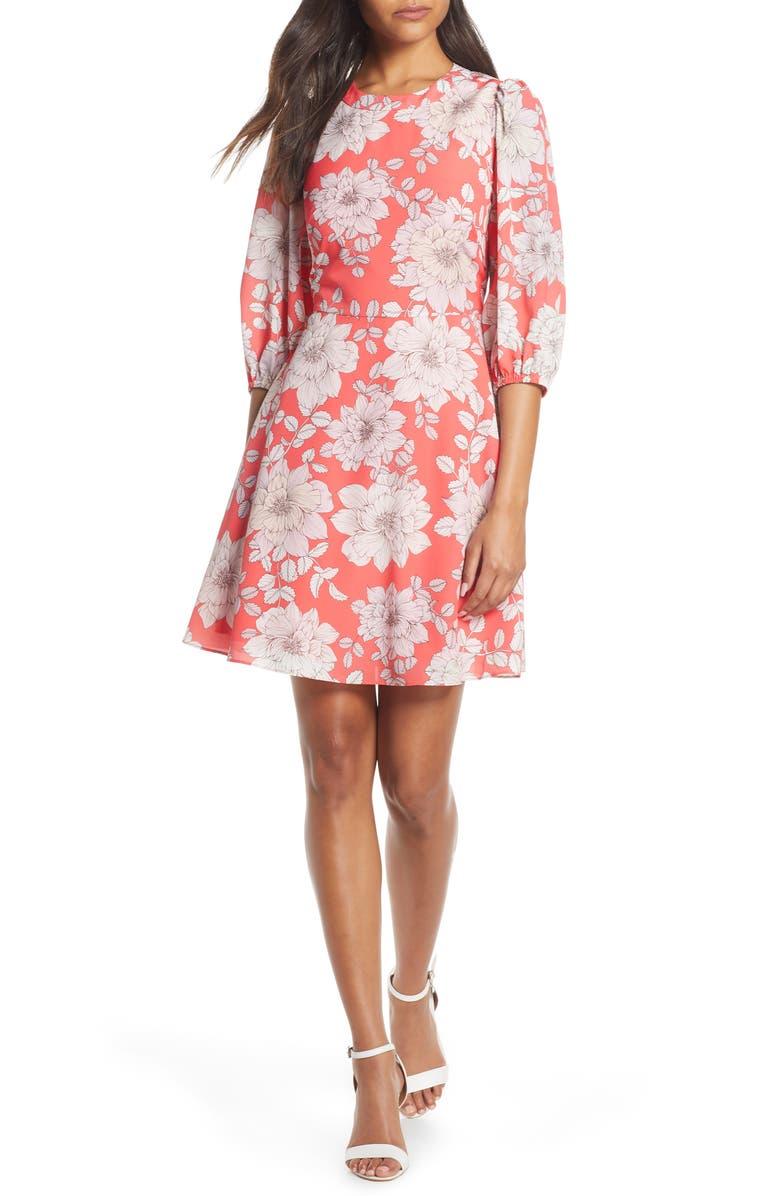 Eliza J Balloon Sleeve Fit Amp Flare Dress Nordstrom