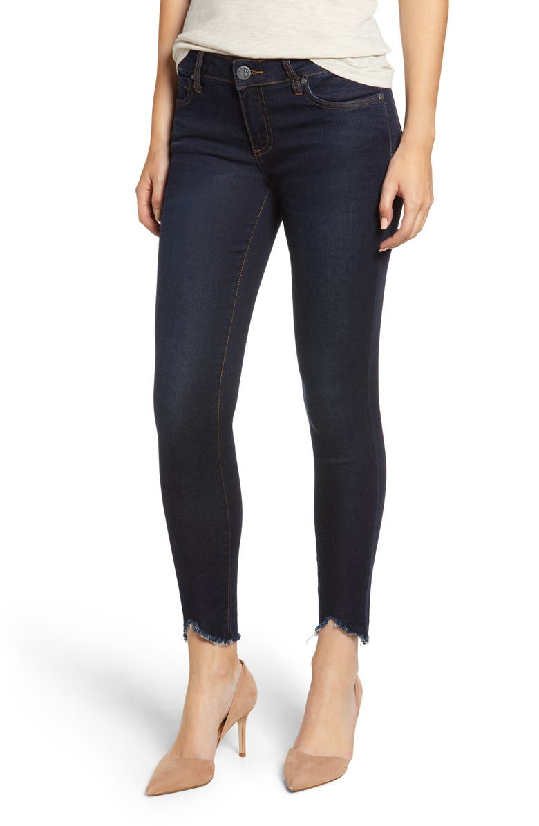 KUT FROM THE KLOTH Connie Frayed Ankle Skinny Jeans, Main, color, OBSERVANT