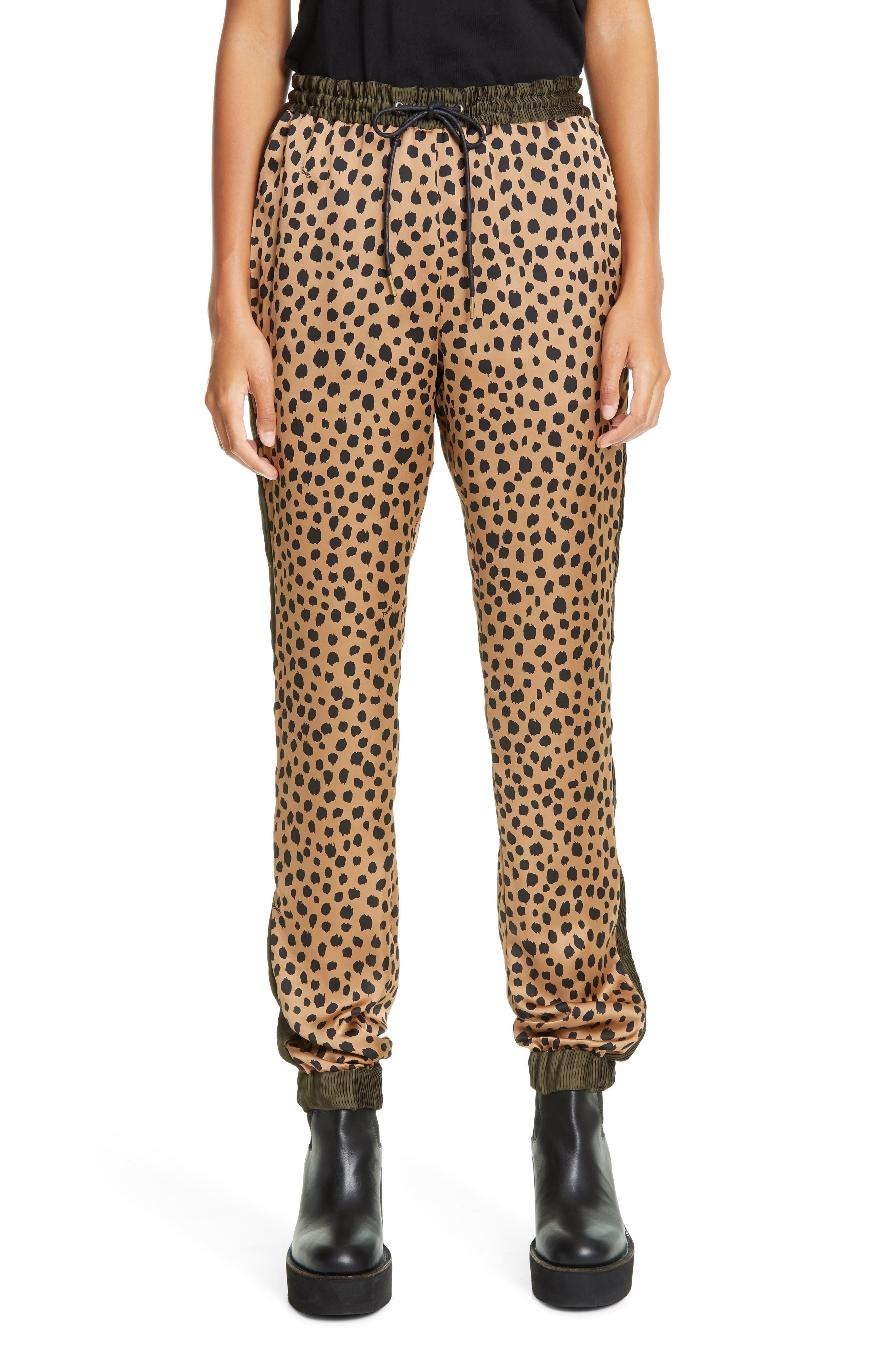 Sacai Side Pleat Cheetah Print Joggers | Nordstrom