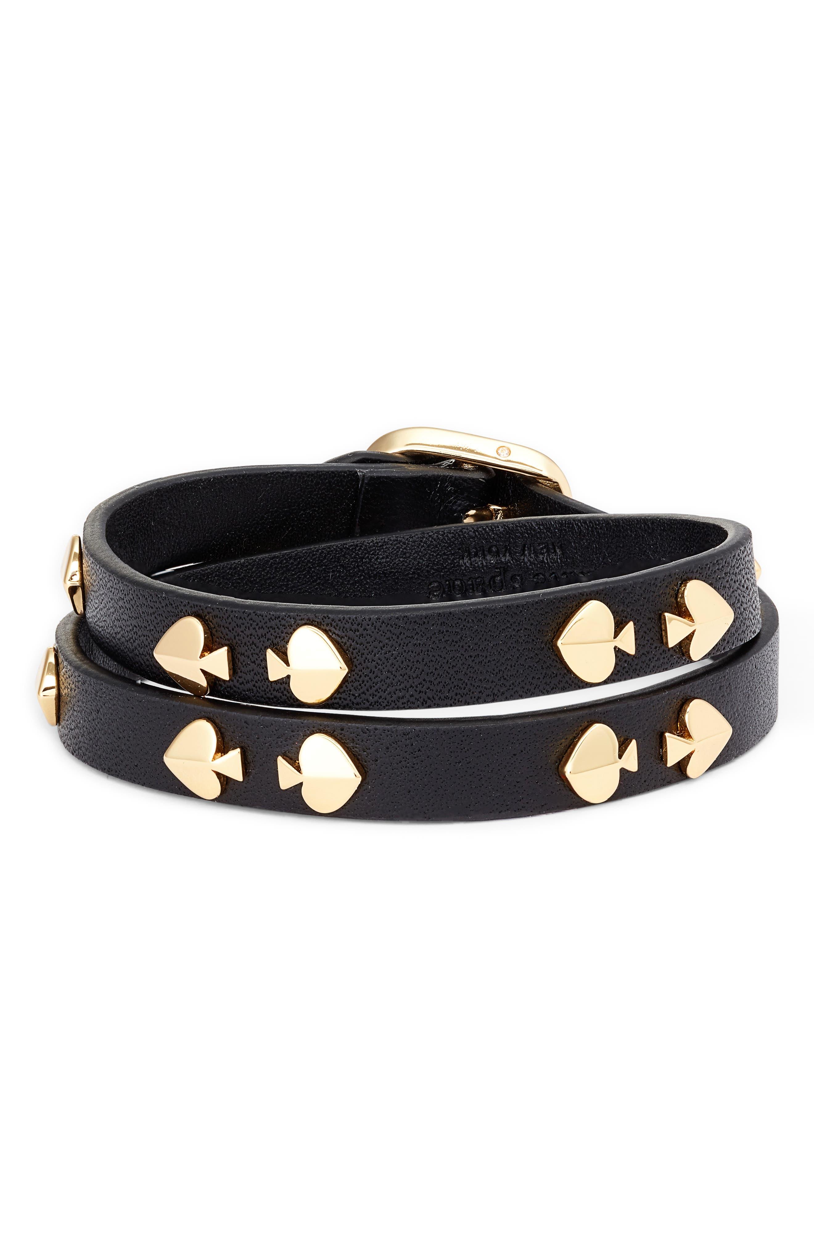 double wrap leather bracelet, Main, color, BLACK