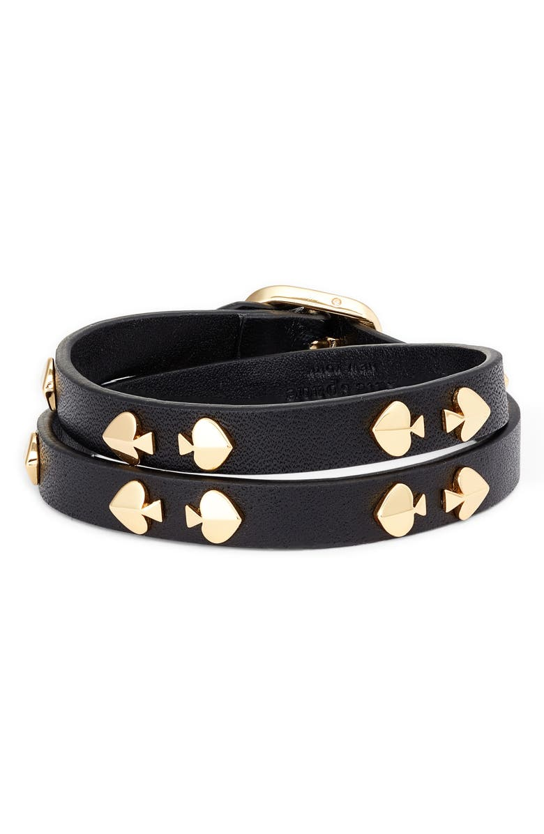KATE SPADE NEW YORK double wrap leather bracelet, Main, color, 001