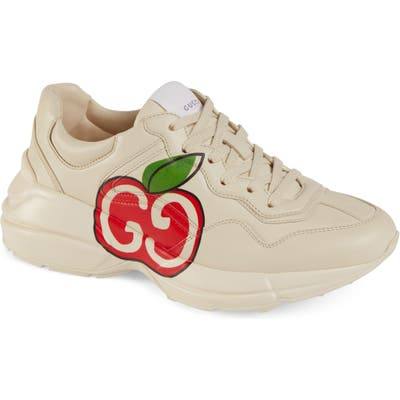 Gucci Rhyton Double-G Apple Print Sneaker, White