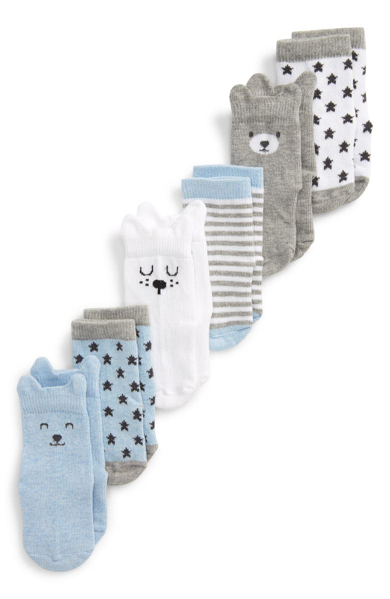 NORDSTROM 6-Pack Animal Crew Socks, Main, color, BLUE PRECIOUS ANIMAL PACK