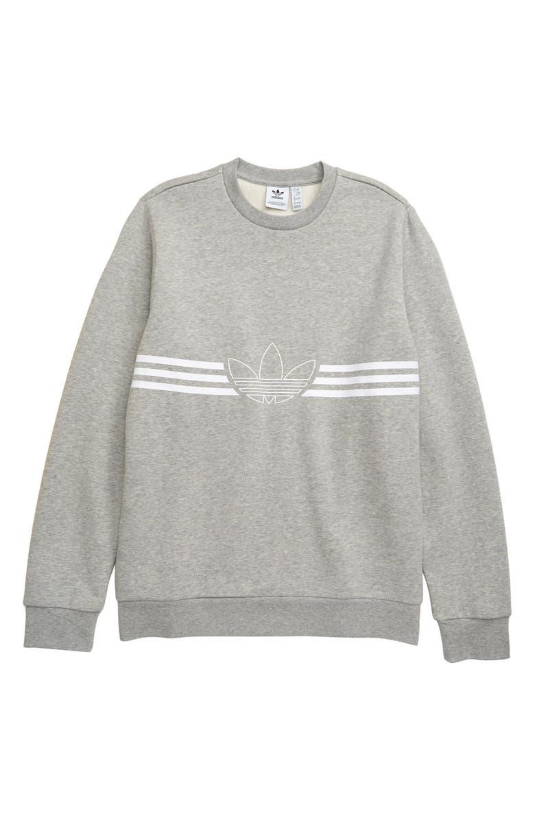 ADIDAS ORIGINALS Outline Fleece Sweatshirt, Main, color, MEDIUM GREY HEATHER/ WHITE