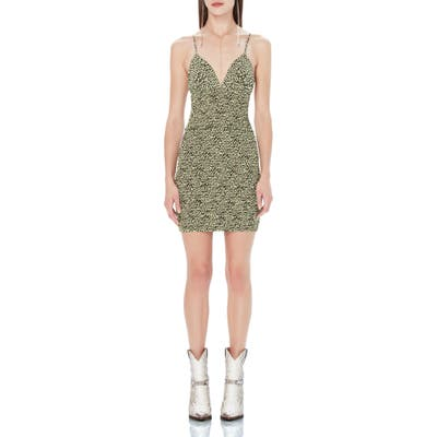 Afrm Lesley Smock Detail Crepe Minidress, Green