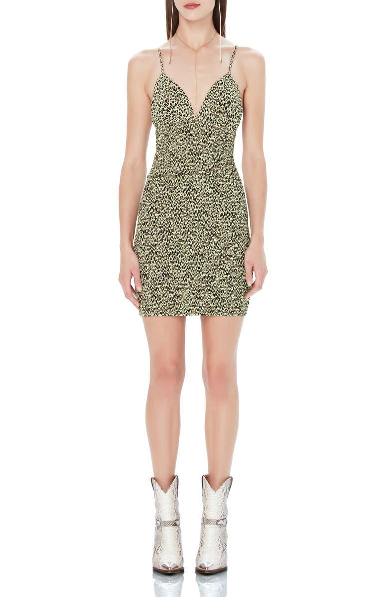 AFRM Lesley Smock Detail Crepe Minidress, Main, color, LIMELIGHT LEOPARD