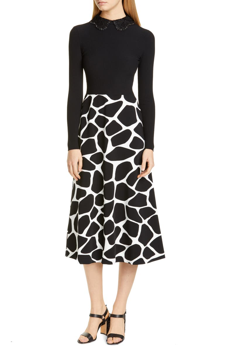 VALENTINO Contrast Bodice Giraffe Print Long Sleeve Midi Dress, Main, color, 001