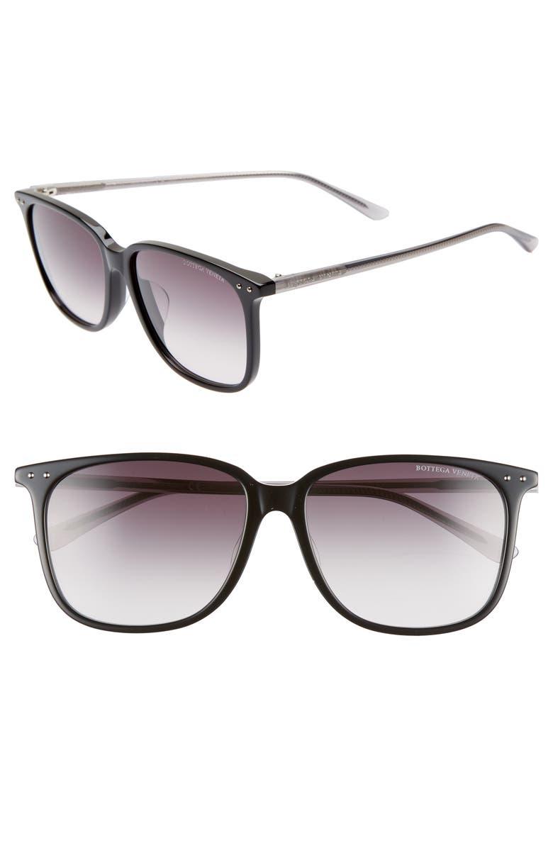 BOTTEGA VENETA 58mm Gradient Square Sunglasses, Main, color, BLACK/ GREY