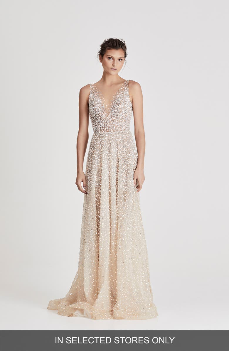 CHOSEN BY ONE DAY Embellished Wedding Dress, Main, color, CHAMPAGNE