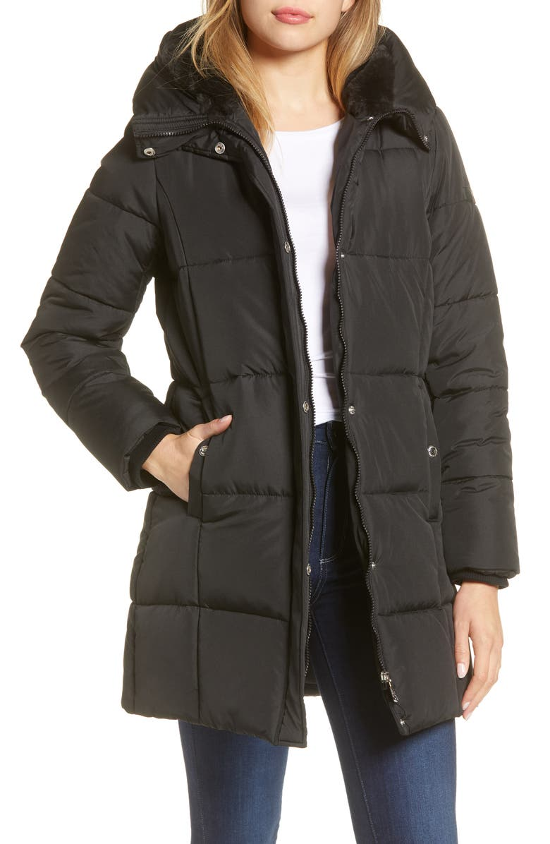 SAM EDELMAN Puffer Coat, Main, color, BLACK