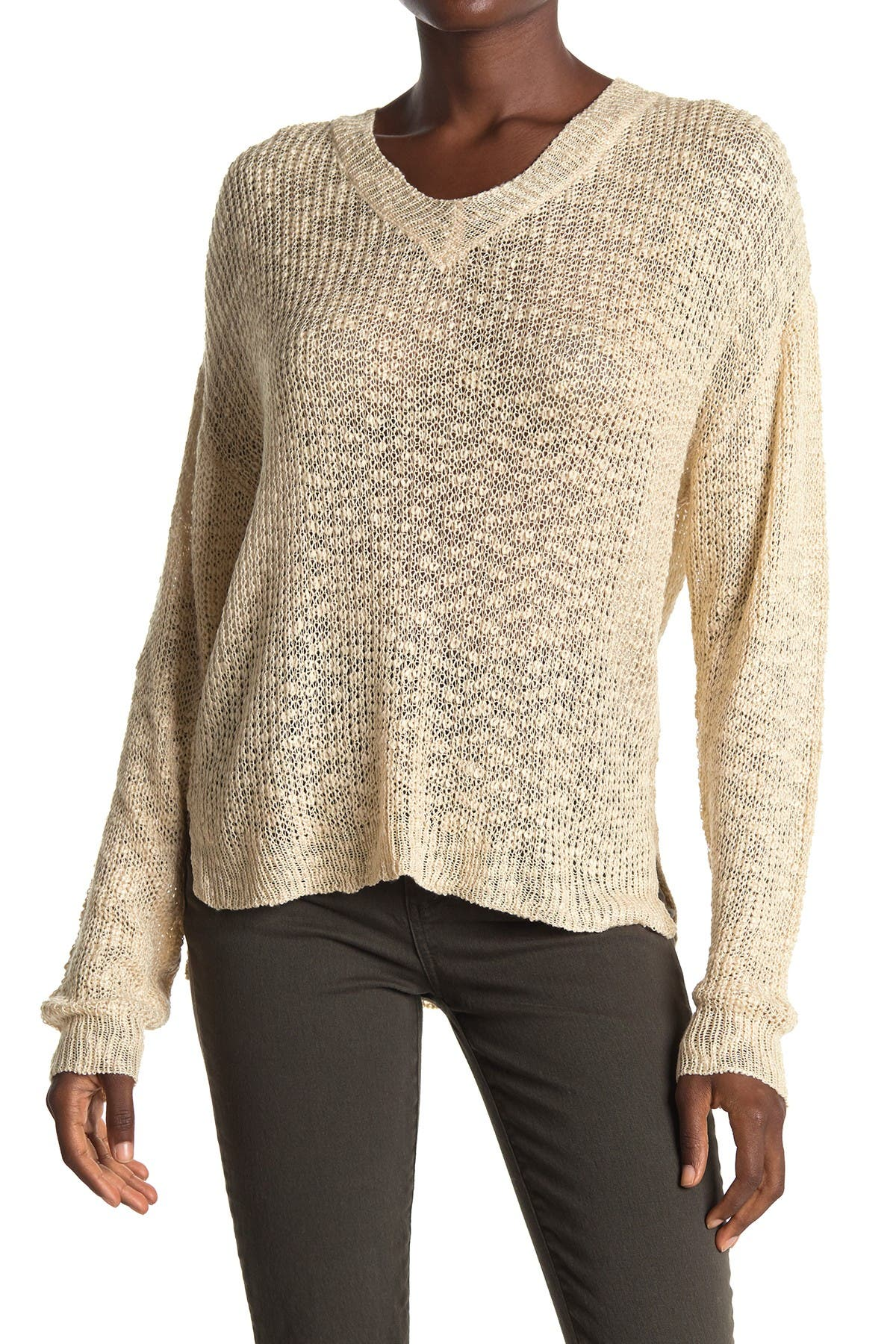 Image of ALL IN FAVOR V-Neck Slub High/Low Sweater