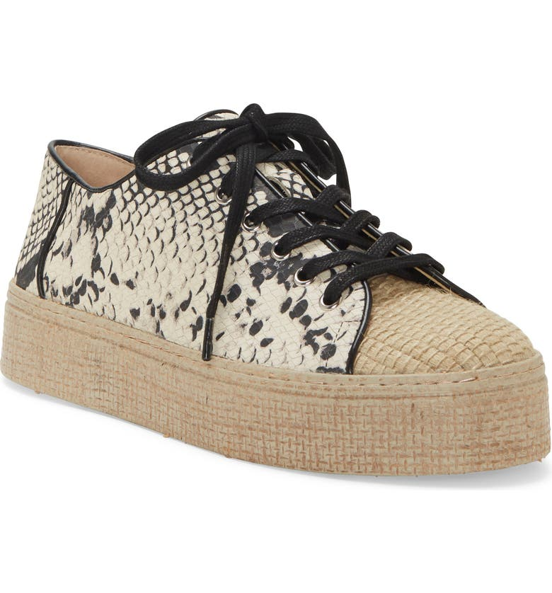 VINCE CAMUTO Calitrie Platform Sneaker, Main, color, BLACK/ WHITE/ NATURALLEATHER