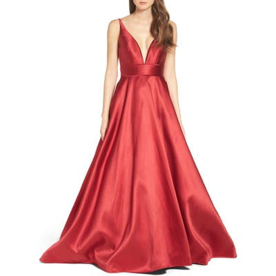 Ieena For MAC Duggal Plunging Sweetheart Neck Ballgown, Red