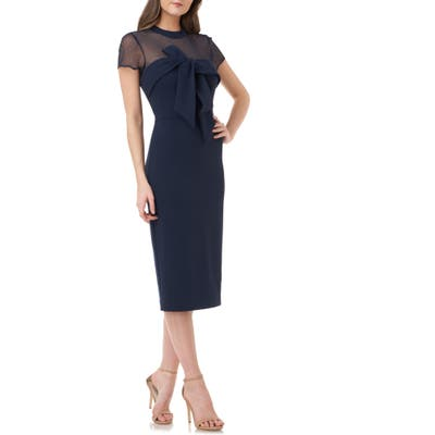 Js Collections Bow Detail Midi Dress, Blue