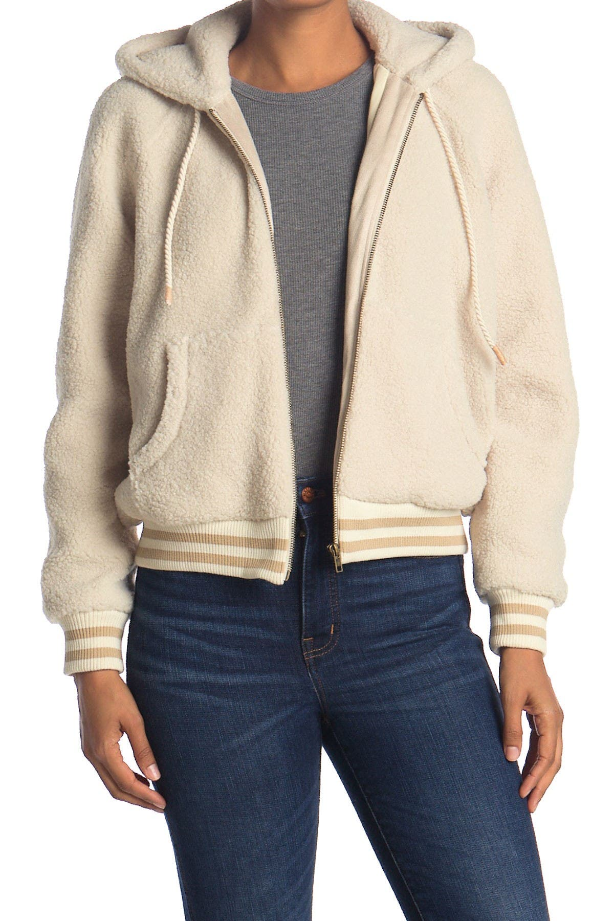 Image of MOTHER The Zip Up Faux Shearling Hoodie