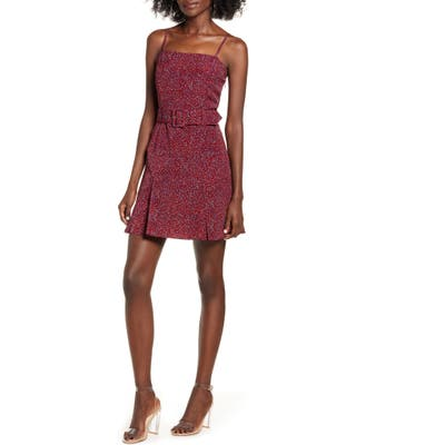 J.o.a. Scattered Dot Belted Minidress, Burgundy