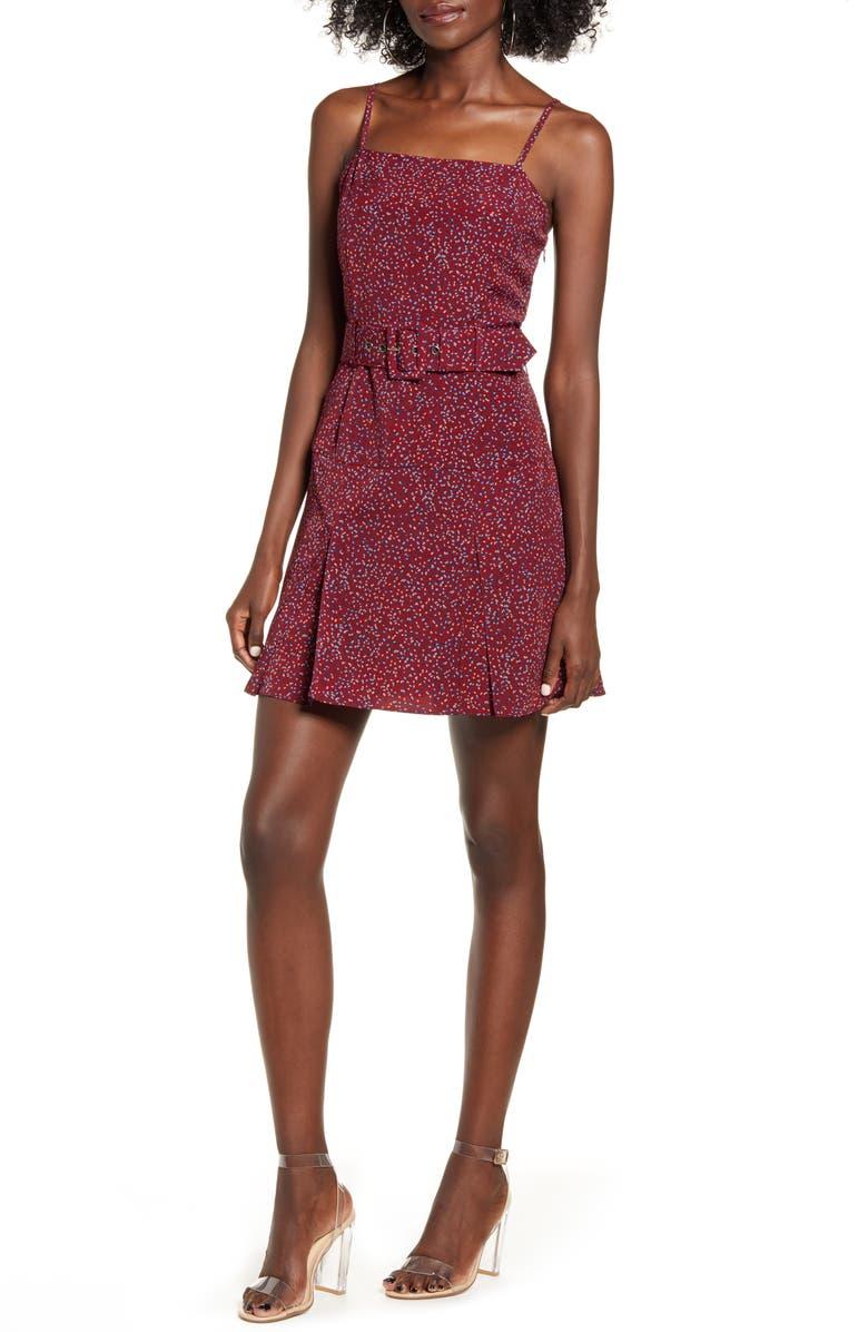 J.O.A. Scattered Dot Belted Minidress, Main, color, 930